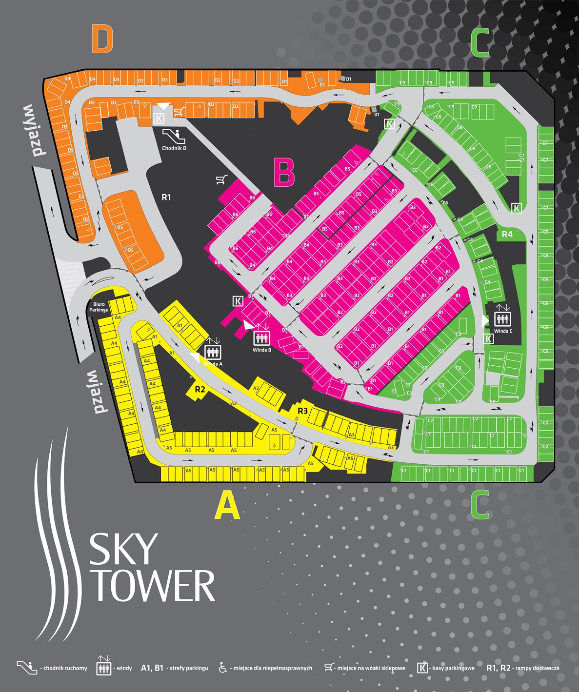 mapa parking Sky Tower